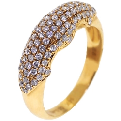 14K Yellow Gold 0.81 ct Diamond Womens Dome Ring