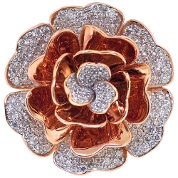 18K Rose Gold 2.17 ct Diamond Womens Flower Ring