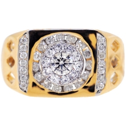 14K Yellow Gold 1.04 ct Round Diamond Mens Signet Ring