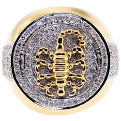 14K Yellow Gold 2.00 ct Diamond Mens Scorpion Ring