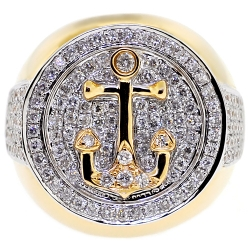 14K Yellow Gold 1.86 ct Diamond Mens Anchor Ring