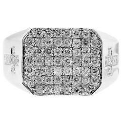 14K White Gold 1.43 ct Diamond Double Cross Mens Ring