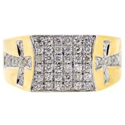 14K Yellow Gold 1.01 ct Diamond Double Cross Mens Ring