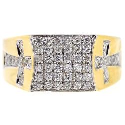 14K Yellow Gold 1.01 ct Diamond Double Cross Mens Ring