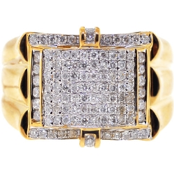 14K Yellow Gold 1.02 ct Diamond Pave Mens Ring