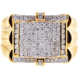 14K Yellow Gold 1.02 ct Diamond Pave Mens Ring