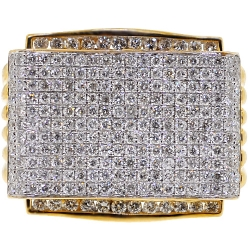 14K Yellow Gold 3.19 ct Diamond Pave Mens Signet Ring