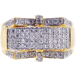 14K Yellow Gold 1.07 ct Diamond Mens Signet Ring