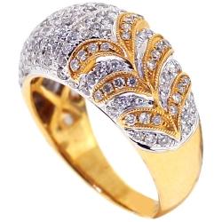 14K Yellow Gold 1.23 ct Diamond Flower Design Womens Ring