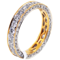 14K Yellow Gold 2.36 ct Iced Out Diamond Womens Eternity Ring