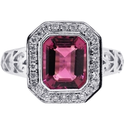 18K White Gold 2.85 ct Pink Tourmaline Diamond Womens Ring