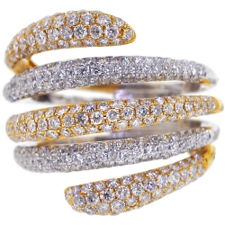 14K Two Tone Gold 2.45 ct Diamond Womens Multiband Ring
