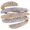 14K Two Tone Gold 2.45 ct Diamond Womens Multiband Ring