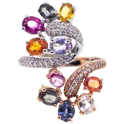 18K Two Tone Gold 5.49 ct Diamond Gemstone Womens Ring