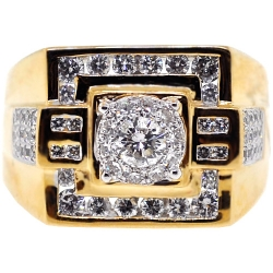 14K Yellow Gold 1.57 ct Diamond Mens Signet Square Ring