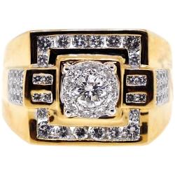 14K Yellow Gold 1.57 ct Diamond Mens Signet Square Ring