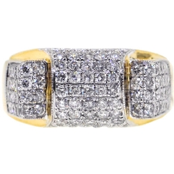 14K Yellow Gold 2.03 ct Diamond Mens Slim Ring