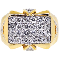 14K Yellow Gold 2.09 ct Diamond Mens Pinky Ring