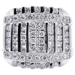 14K White Gold 2.48 ct Diamond Square Multi Row Mens Ring