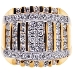 14K Yellow Gold 2.48 ct Diamond Square Signet Mens Ring