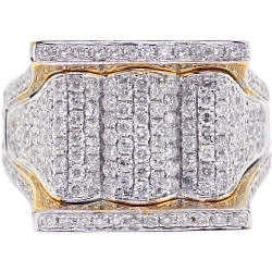 14K Yellow Gold 2.20 ct Diamond Pave Mens Signet Ring
