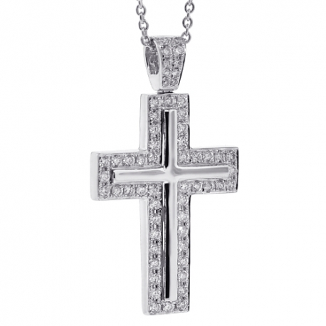 Mens Diamond Latin Cross Pendant Necklace 18K White Gold 0.96ct