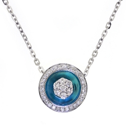 18K White Gold 0.60 ct Diamond Blue Evil Eye Womens Necklace