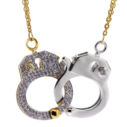 Womens Diamond Handcuffs Necklace 18K Two Tone Gold 0.55ct 24""