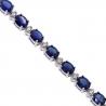 "Womens Blue Sapphire Diamond Tennis Necklace 18K White Gold 16.5"""