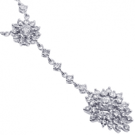 Womens Diamond Cluster Y Shape Necklace 18K White Gold 3.61ct