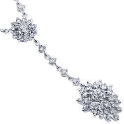 18K White Gold 3.61 ct Diamond Cluster Womens Y Shape Necklace