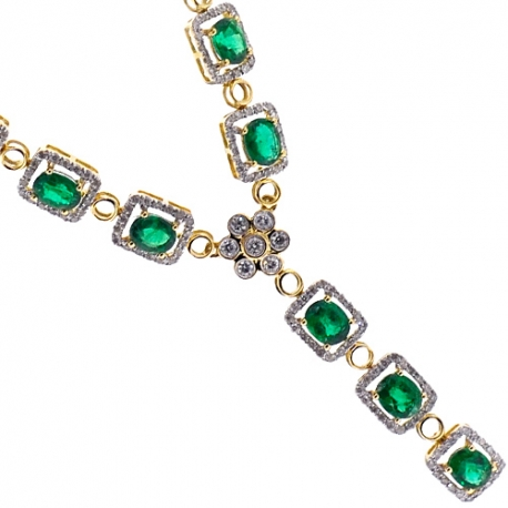 Womens Emerald Diamond Y Shape Drop Necklace 18K Yellow Gold