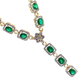 18K Yellow Gold 6.38 ct Emerald Diamond Womens Y Shape Necklace