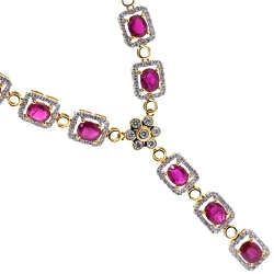 Womens Ruby Diamond Y Shape Drop Necklace 18K Yellow Gold 18""