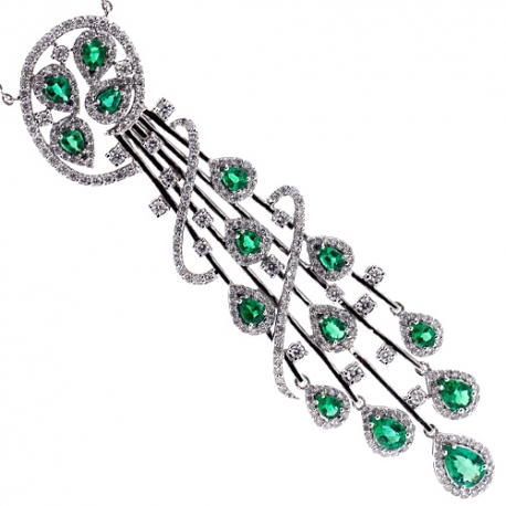 Womens Diamond Emerald Tassel Necklace 18K White Gold 5.17ct 18""