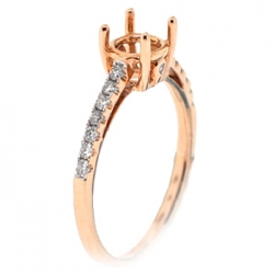 14K Rose Gold Diamond Solitaire Semi Mount Engagement Ring
