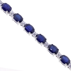 Womens Blue Sapphire Diamond Bracelet 18K White Gold 19.63 ct 7.5""