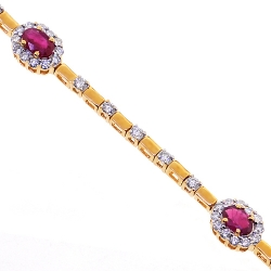 18K Yellow Gold 4.02 ct Ruby Diamond Womens Bracelet 7.5 Inches