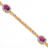 Womens Ruby Diamond Tennis Bracelet 18K Yellow Gold 4.02 ct 7.5""