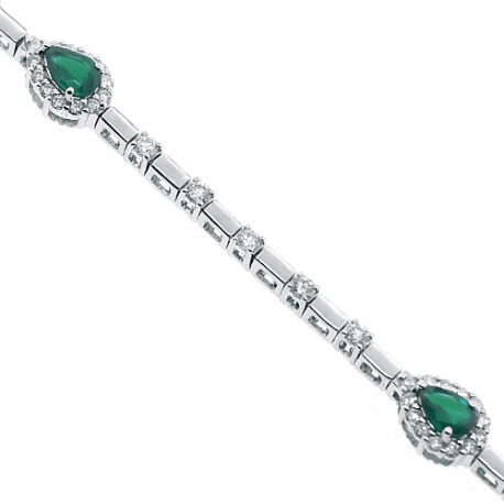 Womens Pear Emerald Diamond Halo Bracelet 18K White Gold 3.40 ct