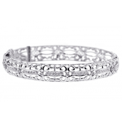 Womens Diamond Filigree Bangle Bracelet 18K White Gold 0.55 ct