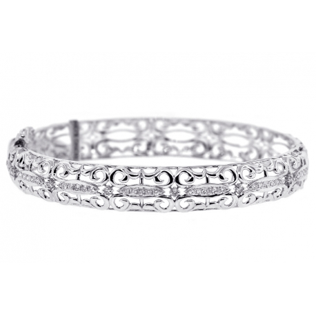 Womens Diamond Filigree Bangle Bracelet 18K White Gold 0.55 ct