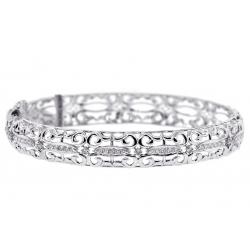 18K White Gold 0.55 ct Diamond Womens Filigree Bangle Bracelet