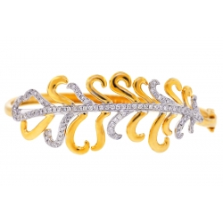 14K Yellow Gold 1.24 ct Diamond Flower Womens Bangle Bracelet