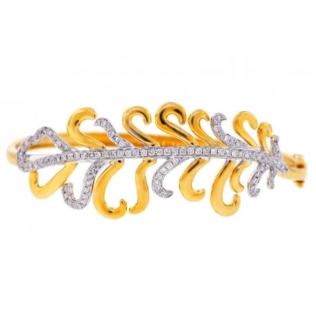 Womens Diamond Flower Bangle Bracelet 14K Yellow Gold 1.24 Carat