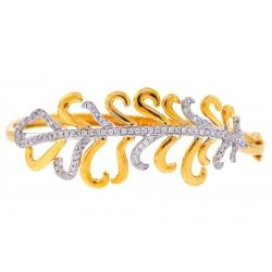 14K Yellow Gold 1.24 ct Diamond Flower Womens Bangle Bracelet