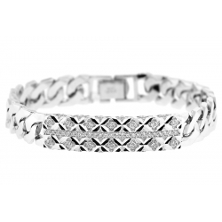 18K White Gold 0.80 ct Diamond Cuban Mens ID Bracelet 8 Inches