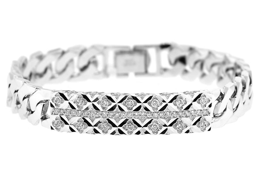 Mens Diamond Cuban Link ID Bracelet 18K White Gold 080 ct 8