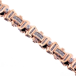 14K Rose Gold 4.04 ct Diamond Link Mens Bracelet 8 1/2 Inches