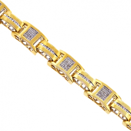 "Mens Diamond Slim Bracelet 14K Yellow Gold 2.74 ct 11mm 8.25"""
